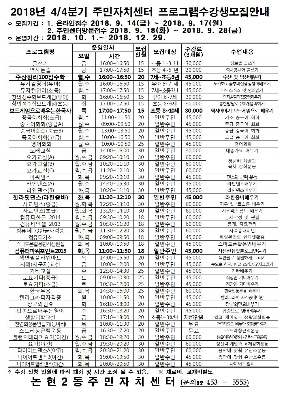 논현2동 주민자치센터_수강생_모집18.4분기001