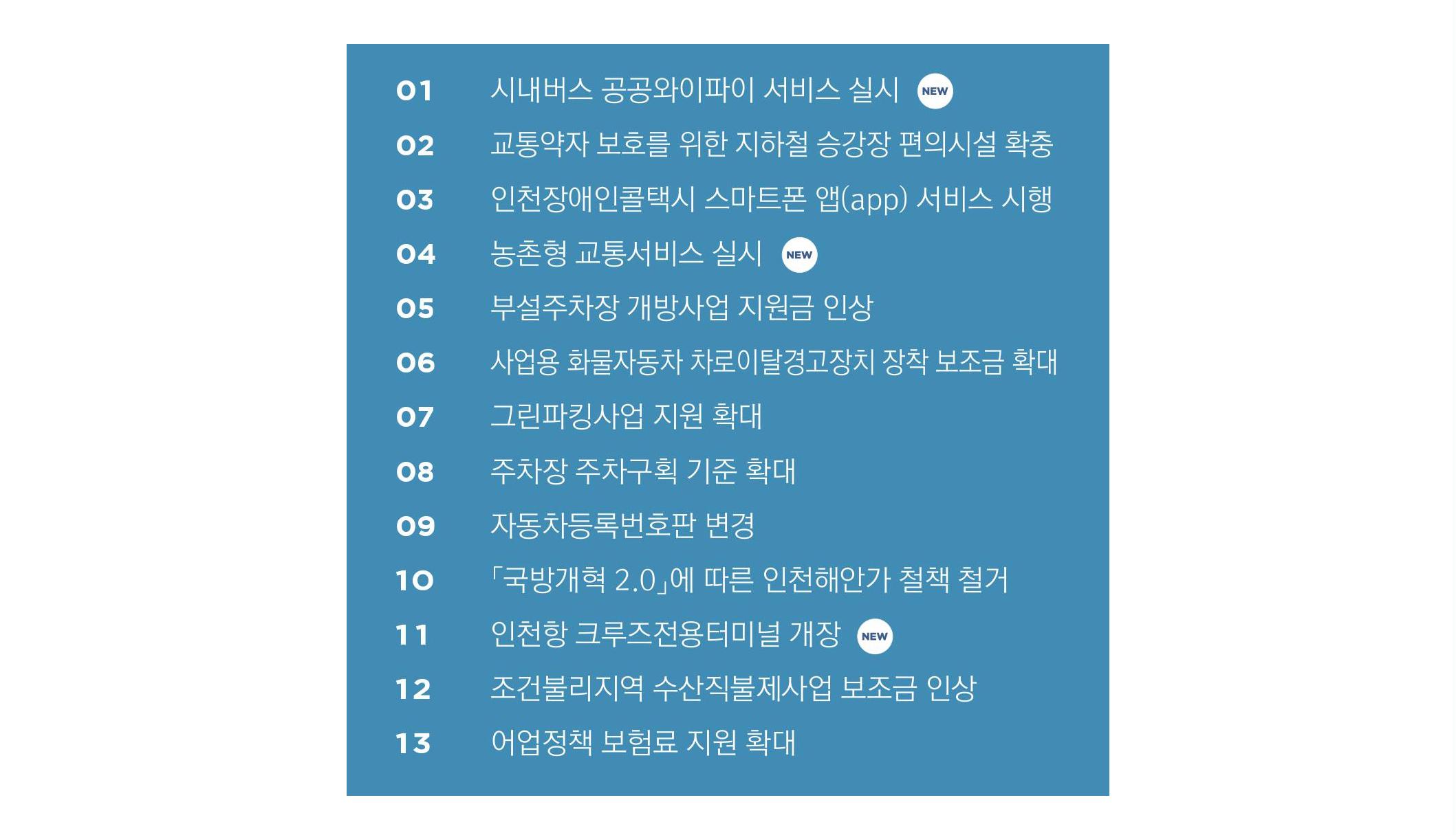2019년 인천 교통 해양 수산 달라지는 것들