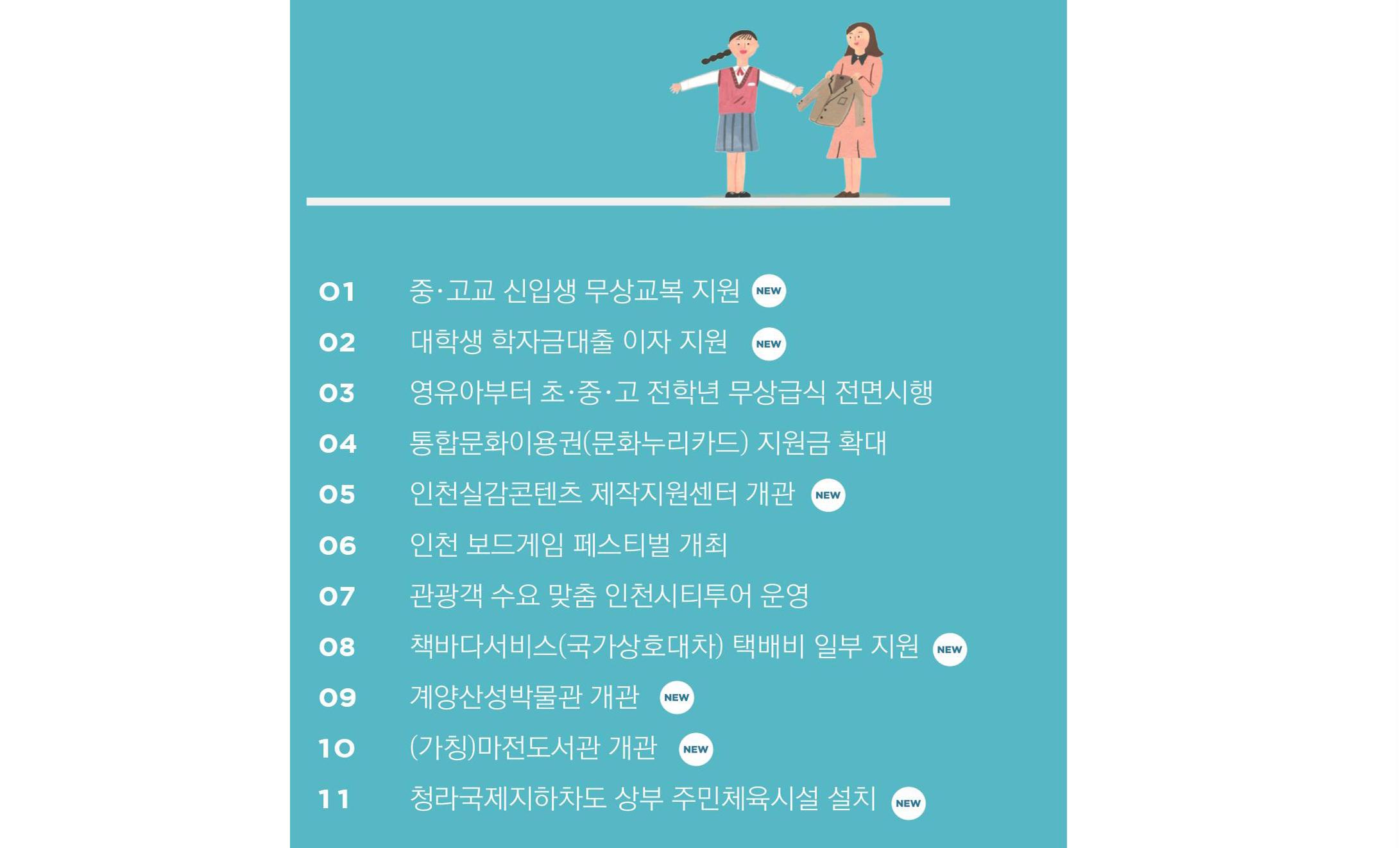 2019년 인천 교육 | 문화 | 관광 | 체육 달라지는 것들