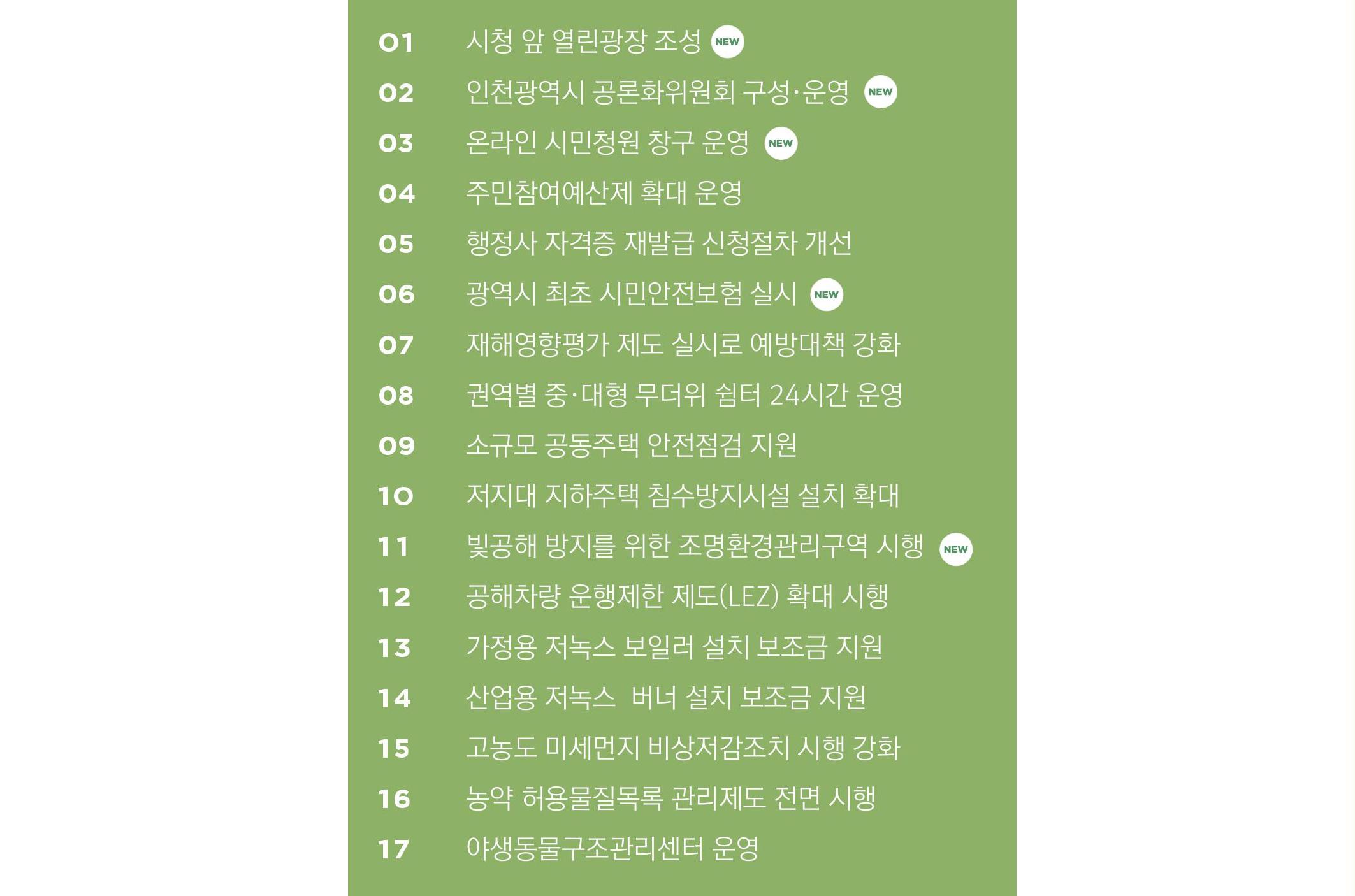 2019년 인천 생활 환경 안전 달라지는 것들