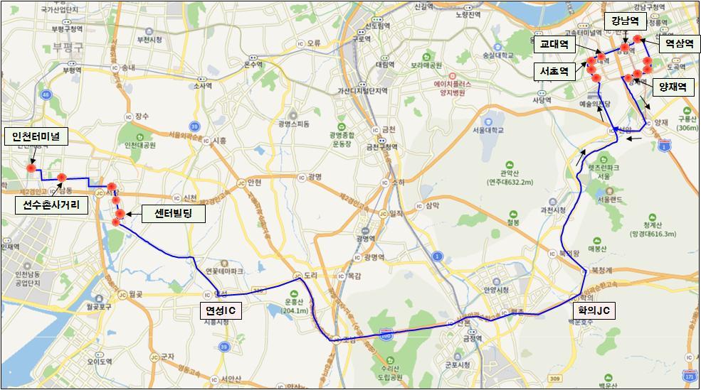 남동구 인천터미널에서 역삼역 가는 M6439 광역버스 운행개시