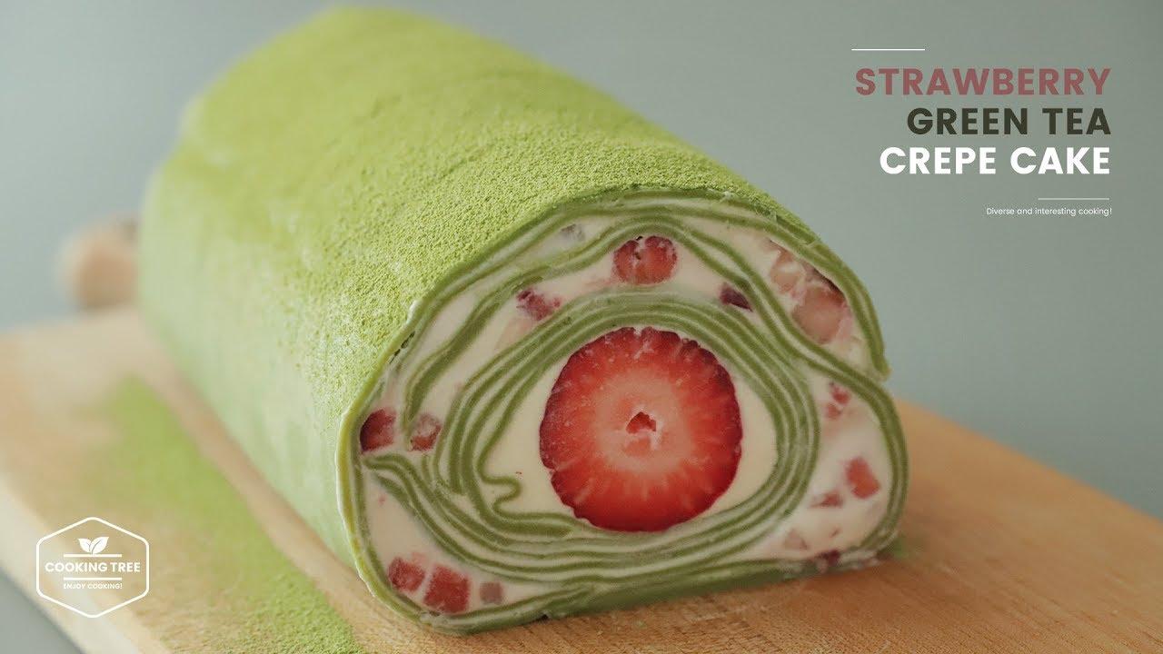 유튜브 요리 레시피 딸기 녹차 크레이프 케이크 만들기 : Strawberry Green tea Crepe Cake Recipe | Cooking tree