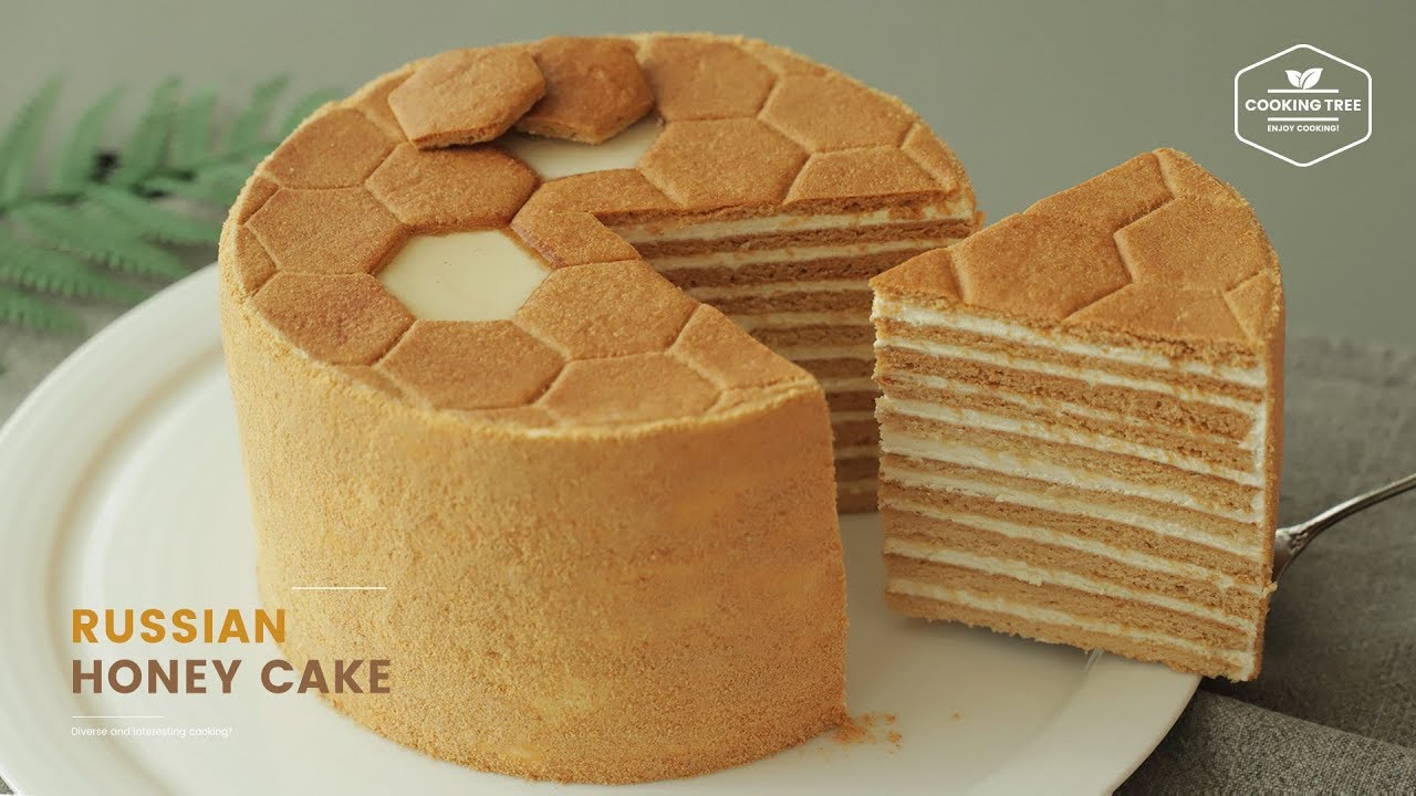 러시아 꿀 케이크🍯 메도빅 만들기 : Russian Honey Cake Medovik Recipe | Cooking tree