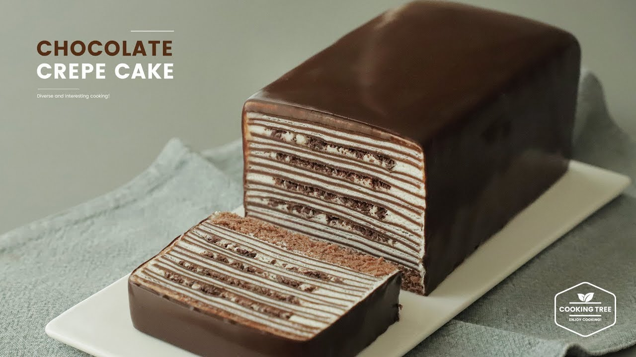 유튜브동영상 요리 레시피 초콜릿 크레이프 케이크 만들기